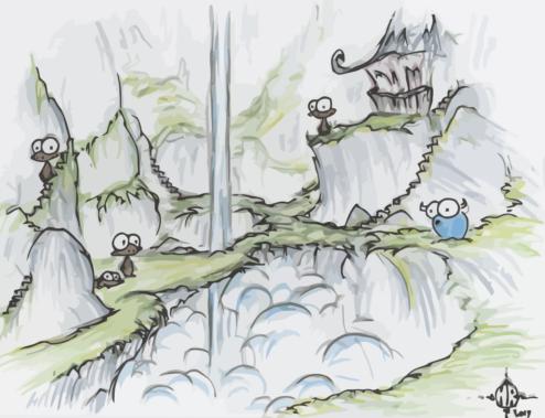 monkeys with waterfall