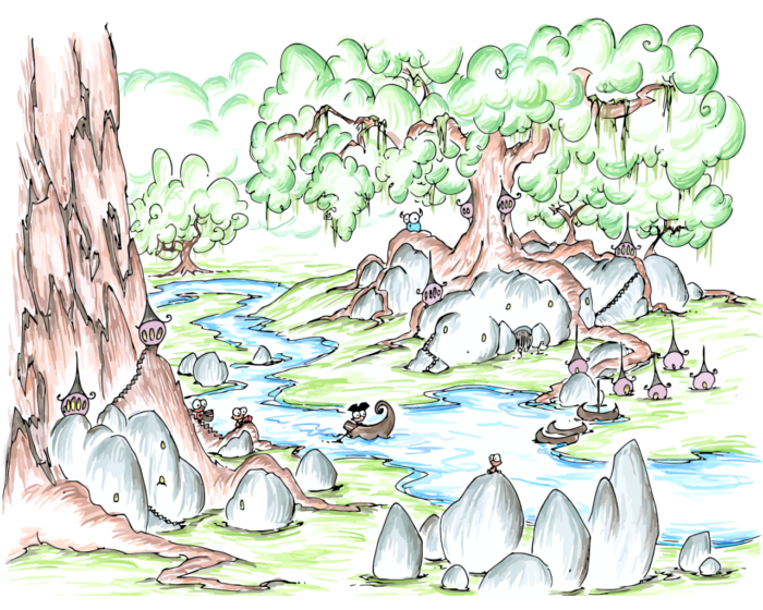 pirate monkey rowing through a forest village and a bluebison