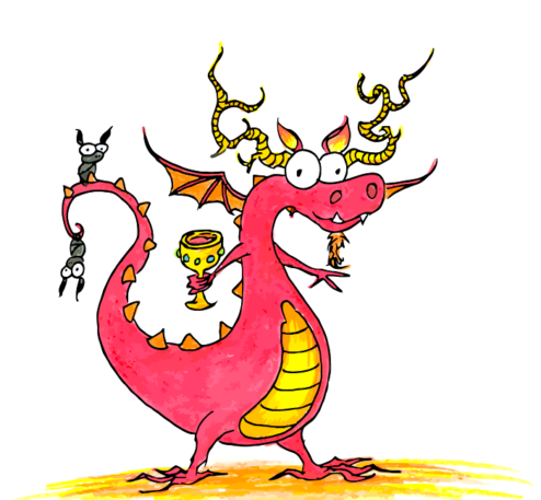 red dragon with antlers and a golden cup and bats on his tail