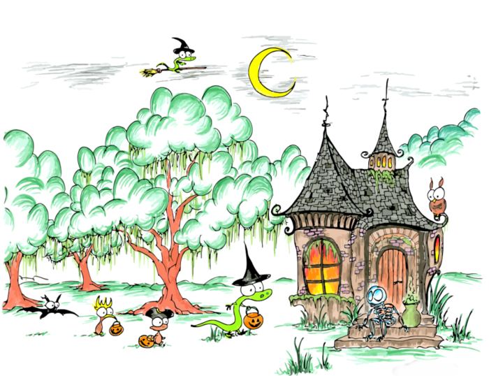trick or treating bat, kiwi, monkey, and alligator at a skeleton's house, also an alligator flying on a broomstick