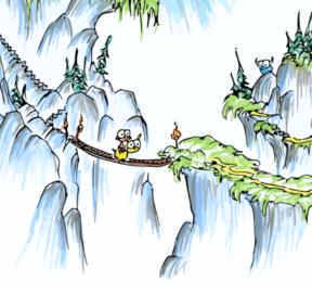 a monkey riding a llama over a bridge near steep cliffs and castles