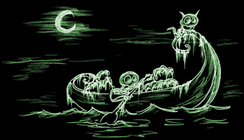 a skeleton in a canoe at night, with a skeleton cat