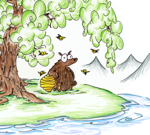 bear and bees and a beehive by a stream under a tree