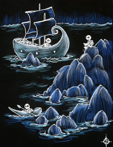 skeletons sailing into a rocky cove at night in boats