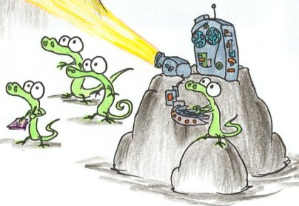 a cartoon alligator operating a projecting machine