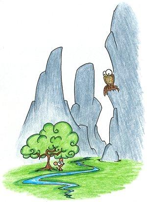 a cartoon peregrine falcon and a mouse