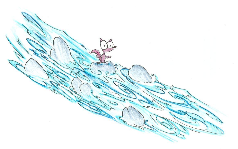 cartoon fox stuck on a rock in a raging river