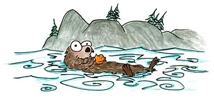 a cartoon california sea otter in monterey bay