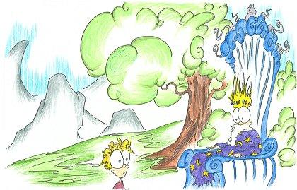 a cartoon wizard king and a boy