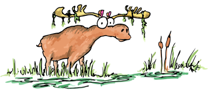 cartoon moose eating in a swamp