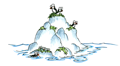 a drawing of cartoon puffins nesting on a rock