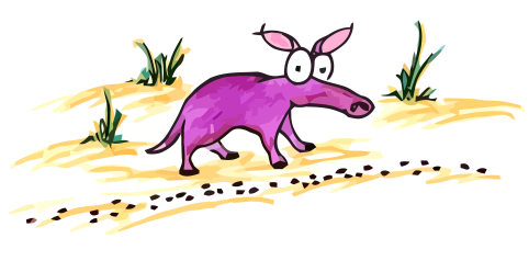 cartoon aardvark with a trail of ants