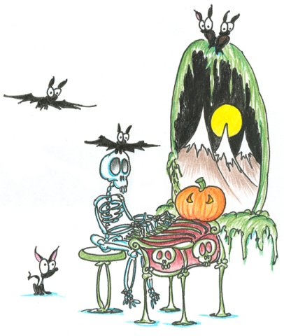 cartoon skeleton playing an organ for some bats on halloween night