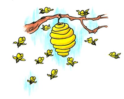 cartoon bees swarming around a bee hive