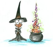 cartoon monkey witch and a bubbling evil cauldron