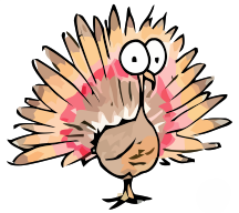 cartoon illustration of a turkey getting ready for thanksgiving