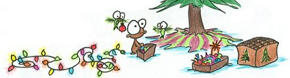 cartoon monkey and a hummingbird getting out the christmas tree decorations