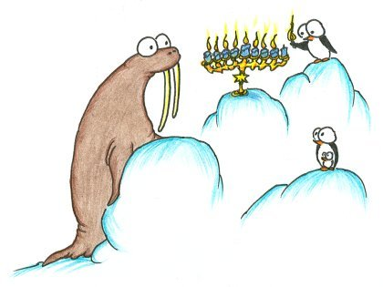cartoon walrus and some penguins lighting a menorah for hanukkah