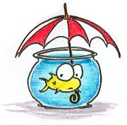 illustration of a fish holding an umbrella in a fishbowl