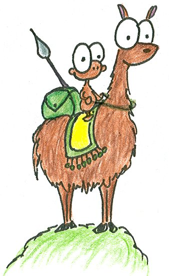 cartoon monkey riding on a llama