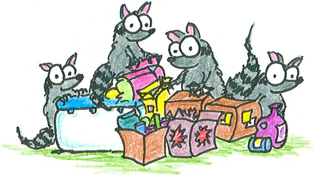 Raccoons Stealing Food Bluebisonnet
