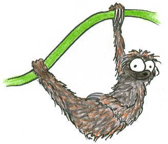 illustration of a three toed sloth hanging from a vine