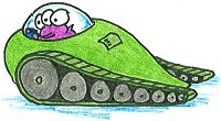 an alien driving a tank-like vehicle from another planet