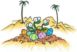 dinosaurs hatching out of easter eggs