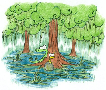 an alligator and a yellow cat sitting under a tree in a swamp