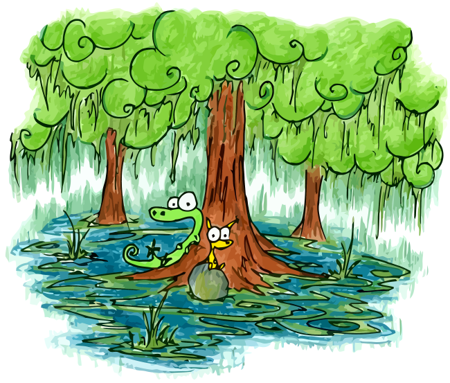 An Alligator And A Cat Hanging Out In A Swamp