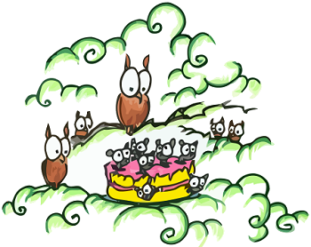cartoon owls celebrating a birthday with a birthday cake full of mice happy birthday