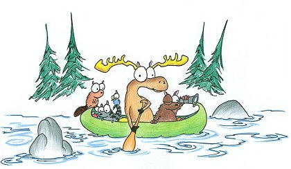 a cartoon bear, moose, raccoon, jay, and beaver exploring in a canoe