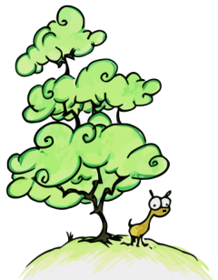 a cartoon illustrated llama standing under a tall tree