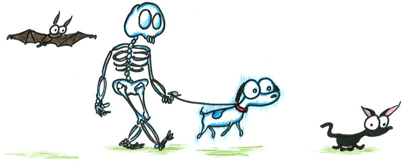 a cartoon skeleton walking with his ghost dog, black cat, and pet bat