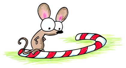 a cartoon mouse on a christmas candy cane