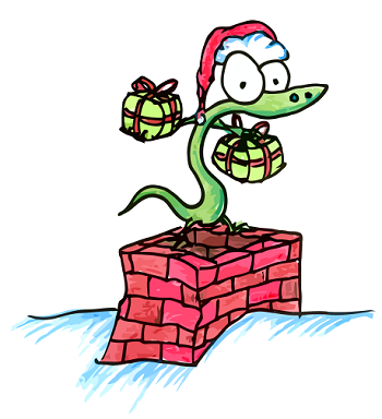 a cartoon alligator wearing a santa hat standing on a chimney with presents
