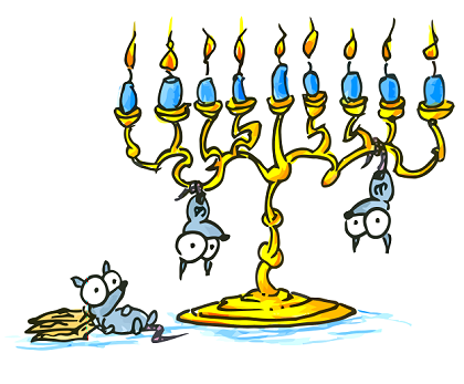 a hanukkah menorah with cartoon possums celebrating hanukkah