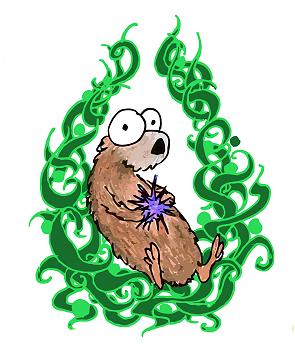 a cartoon sea otter in a circle of kelp logo