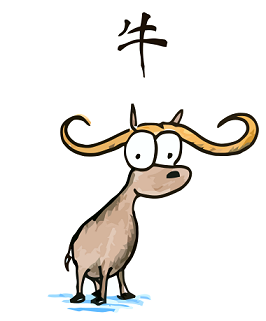 a cartoon drawing of an ox, the second animal of the chinese zodiac, the year of the ox, chinese character for ox