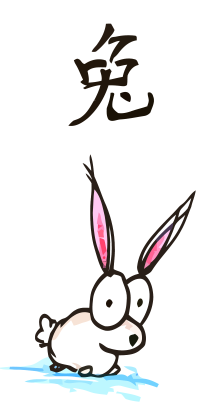 a cartoon drawing of a chinese rabbit, the fourth animal of the chinese zodiac, the year of the rabbit