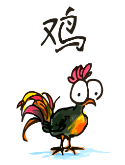a cartoon drawing of a rooster, the tenth animal of the chinese zodiac, the year of the rooster