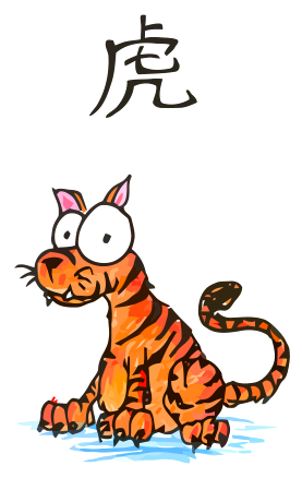 a cartoon drawing of a chinese tiger, the third animal of the chinese zodiac, the year of the tiger