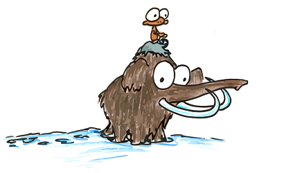 a cartoon drawing of a monkey riding a woolly mammoth, for free use in a book report or facebook page