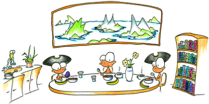a cartoon drawing of monkey pirates eating breakfast from The Brave Monkey Pirate children's story