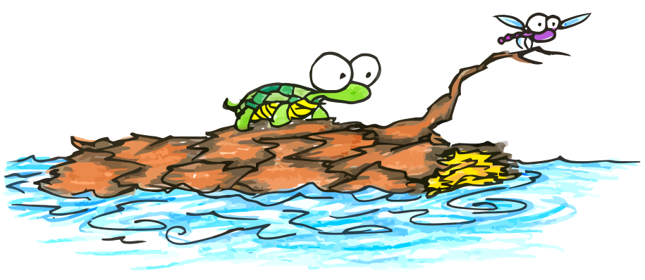 a cartoon illustration of a turtle and a dragonfly sailing on a log