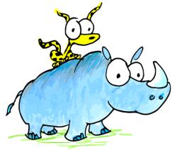 a cartoon illustration of a leopard sitting on a rhino's back