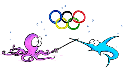a cartoon olympics image of an octopus and a swordfish fencing