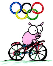 a cartoon cycling logo of a pig at the 2008 olympics in China