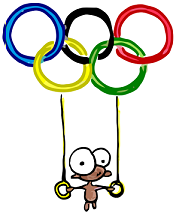 a cartoon olympics logo of a monkey at the 2008 olympics in China on those rings they hang from and flip around on