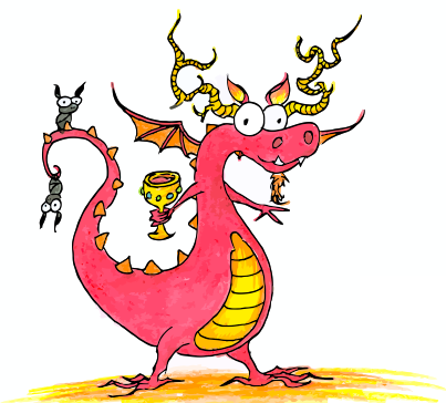 a cartoon red dragon with antlers and bats on his tail for halloween